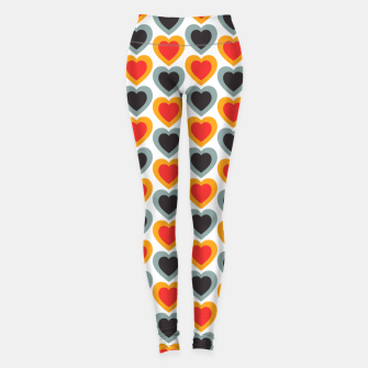 Thumbnail image of Mid-century Modern Hearts in Red, Orange, Black and Dark Blue Leggings, Live Heroes
