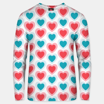 Thumbnail image of Mid-century Modern Hearts, Abstract Vintage Heart Pattern in Cherry Pink and Mint Teal Color Unisex sweater, Live Heroes