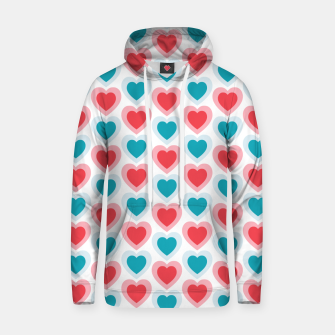 Thumbnail image of Mid-century Modern Hearts, Abstract Vintage Heart Pattern in Cherry Pink and Mint Teal Color Hoodie, Live Heroes