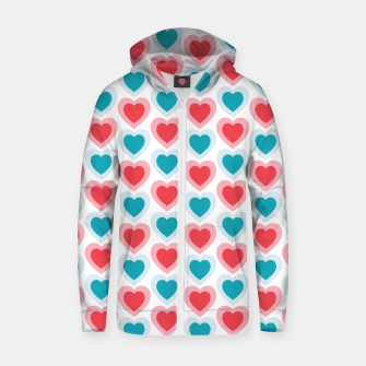 Thumbnail image of Mid-century Modern Hearts, Abstract Vintage Heart Pattern in Cherry Pink and Mint Teal Color Zip up hoodie, Live Heroes