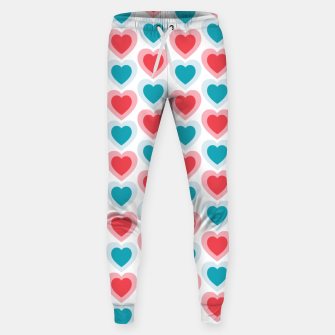 Thumbnail image of Mid-century Modern Hearts, Abstract Vintage Heart Pattern in Cherry Pink and Mint Teal Color Sweatpants, Live Heroes