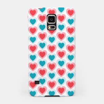 Thumbnail image of Mid-century Modern Hearts, Abstract Vintage Heart Pattern in Cherry Pink and Mint Teal Color Samsung Case, Live Heroes