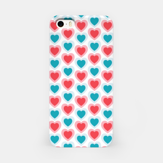 Thumbnail image of Mid-century Modern Hearts, Abstract Vintage Heart Pattern in Cherry Pink and Mint Teal Color iPhone Case, Live Heroes
