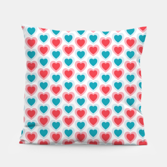 Thumbnail image of Mid-century Modern Hearts, Abstract Vintage Heart Pattern in Cherry Pink and Mint Teal Color Pillow, Live Heroes