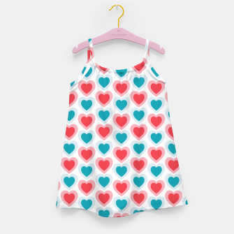 Thumbnail image of Mid-century Modern Hearts, Abstract Vintage Heart Pattern in Cherry Pink and Mint Teal Color Girl's dress, Live Heroes