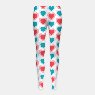 Thumbnail image of Mid-century Modern Hearts, Abstract Vintage Heart Pattern in Cherry Pink and Mint Teal Color Girl's leggings, Live Heroes