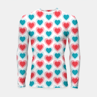 Thumbnail image of Mid-century Modern Hearts, Abstract Vintage Heart Pattern in Cherry Pink and Mint Teal Color Longsleeve rashguard , Live Heroes