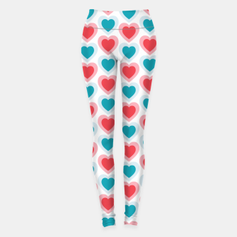 Thumbnail image of Mid-century Modern Hearts, Abstract Vintage Heart Pattern in Cherry Pink and Mint Teal Color Leggings, Live Heroes