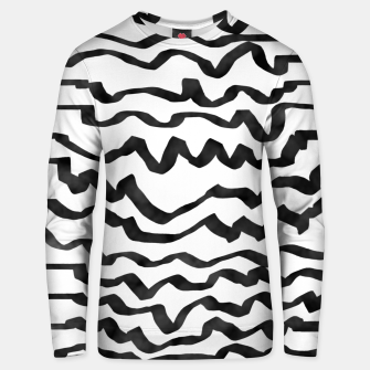 Miniature de image de Energetic Calligraphic Lines in Black and White, Modern Doodle Pattern, Zebra Print Unisex sweater, Live Heroes