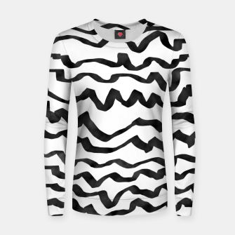 Miniature de image de Energetic Calligraphic Lines in Black and White, Modern Doodle Pattern, Zebra Print Women sweater, Live Heroes