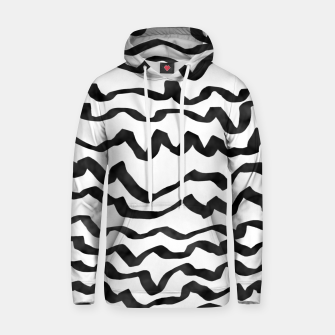 Miniature de image de Energetic Calligraphic Lines in Black and White, Modern Doodle Pattern, Zebra Print Hoodie, Live Heroes