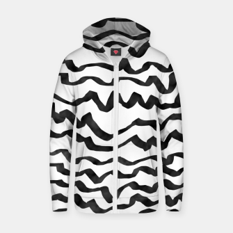 Thumbnail image of Energetic Calligraphic Lines in Black and White, Modern Doodle Pattern, Zebra Print Zip up hoodie, Live Heroes