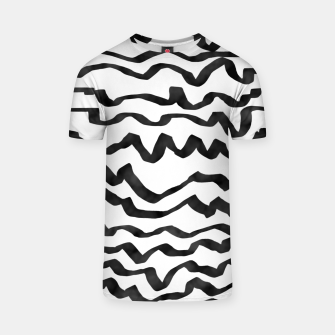 Miniature de image de Energetic Calligraphic Lines in Black and White, Modern Doodle Pattern, Zebra Print T-shirt, Live Heroes
