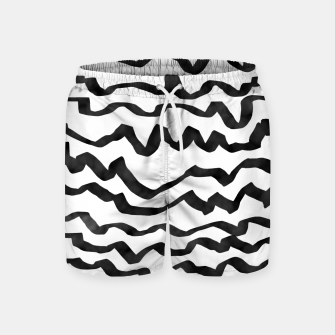 Miniature de image de Energetic Calligraphic Lines in Black and White, Modern Doodle Pattern, Zebra Print Swim Shorts, Live Heroes
