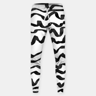 Miniature de image de Energetic Calligraphic Lines in Black and White, Modern Doodle Pattern, Zebra Print Sweatpants, Live Heroes