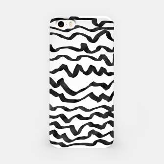 Miniature de image de Energetic Calligraphic Lines in Black and White, Modern Doodle Pattern, Zebra Print iPhone Case, Live Heroes