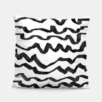 Miniature de image de Energetic Calligraphic Lines in Black and White, Modern Doodle Pattern, Zebra Print Pillow, Live Heroes