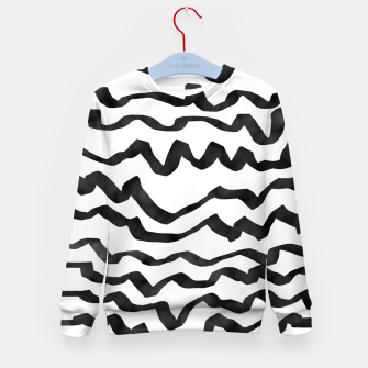 Miniature de image de Energetic Calligraphic Lines in Black and White, Modern Doodle Pattern, Zebra Print Kid's sweater, Live Heroes