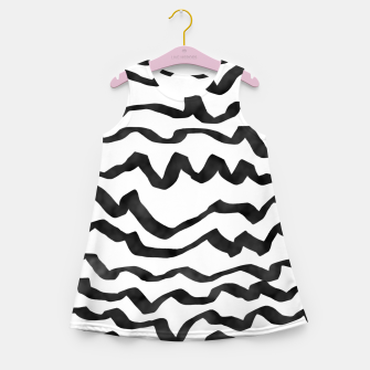 Miniature de image de Energetic Calligraphic Lines in Black and White, Modern Doodle Pattern, Zebra Print Girl's summer dress, Live Heroes