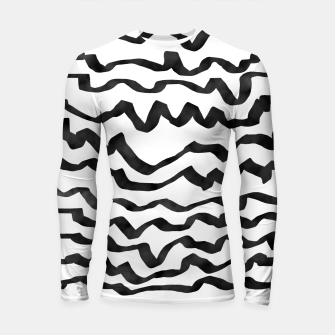 Miniature de image de Energetic Calligraphic Lines in Black and White, Modern Doodle Pattern, Zebra Print Longsleeve rashguard , Live Heroes