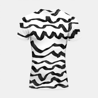 Miniature de image de Energetic Calligraphic Lines in Black and White, Modern Doodle Pattern, Zebra Print Shortsleeve rashguard, Live Heroes