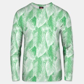 Thumbnail image of Green Watercolor Tropical Leaves  Unisex sweater, Live Heroes