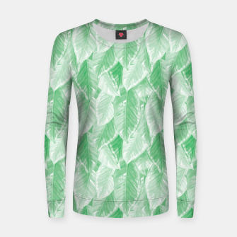 Thumbnail image of Green Watercolor Tropical Leaves  Women sweater, Live Heroes