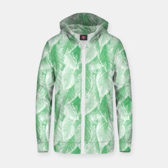 Thumbnail image of Green Watercolor Tropical Leaves  Zip up hoodie, Live Heroes