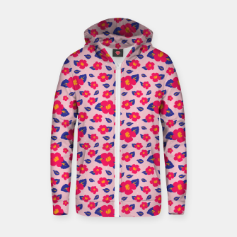 Thumbnail image of Hibiscus Floral Pattern in Pink and Blue  Zip up hoodie, Live Heroes