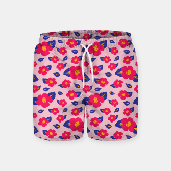Thumbnail image of Hibiscus Floral Pattern in Pink and Blue  Swim Shorts, Live Heroes