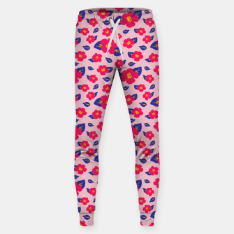 Thumbnail image of Hibiscus Floral Pattern in Pink and Blue  Sweatpants, Live Heroes