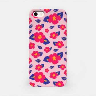 Thumbnail image of Hibiscus Floral Pattern in Pink and Blue  iPhone Case, Live Heroes