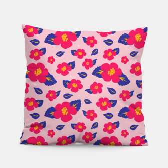 Thumbnail image of Hibiscus Floral Pattern in Pink and Blue  Pillow, Live Heroes