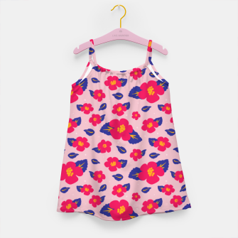 Thumbnail image of Hibiscus Floral Pattern in Pink and Blue  Girl's dress, Live Heroes
