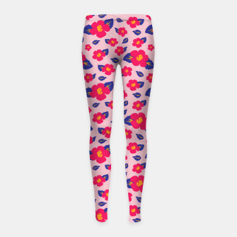 Thumbnail image of Hibiscus Floral Pattern in Pink and Blue  Girl's leggings, Live Heroes