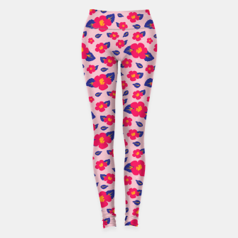 Thumbnail image of Hibiscus Floral Pattern in Pink and Blue  Leggings, Live Heroes