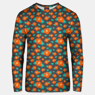 Thumbnail image of Hibiscus Floral Pattern in Dark Grey and Bright Orange Color  Unisex sweater, Live Heroes