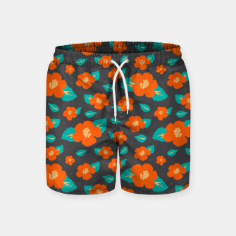 Thumbnail image of Hibiscus Floral Pattern in Dark Grey and Bright Orange Color  Swim Shorts, Live Heroes