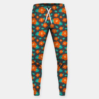 Thumbnail image of Hibiscus Floral Pattern in Dark Grey and Bright Orange Color  Sweatpants, Live Heroes