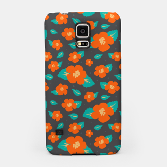 Thumbnail image of Hibiscus Floral Pattern in Dark Grey and Bright Orange Color  Samsung Case, Live Heroes