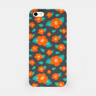 Thumbnail image of Hibiscus Floral Pattern in Dark Grey and Bright Orange Color  iPhone Case, Live Heroes