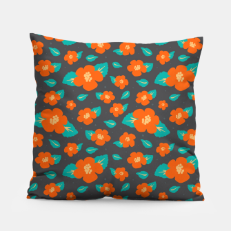 Thumbnail image of Hibiscus Floral Pattern in Dark Grey and Bright Orange Color  Pillow, Live Heroes