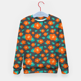 Thumbnail image of Hibiscus Floral Pattern in Dark Grey and Bright Orange Color  Kid's sweater, Live Heroes