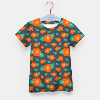 Thumbnail image of Hibiscus Floral Pattern in Dark Grey and Bright Orange Color  Kid's t-shirt, Live Heroes