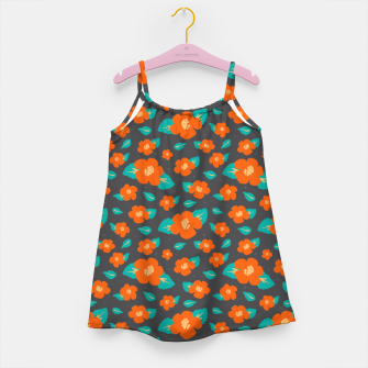 Thumbnail image of Hibiscus Floral Pattern in Dark Grey and Bright Orange Color  Girl's dress, Live Heroes