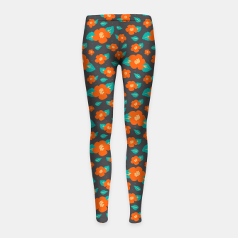Thumbnail image of Hibiscus Floral Pattern in Dark Grey and Bright Orange Color  Girl's leggings, Live Heroes