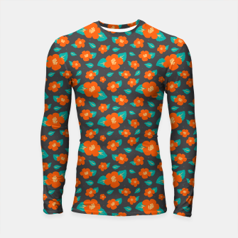 Thumbnail image of Hibiscus Floral Pattern in Dark Grey and Bright Orange Color  Longsleeve rashguard , Live Heroes