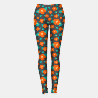 Thumbnail image of Hibiscus Floral Pattern in Dark Grey and Bright Orange Color  Leggings, Live Heroes