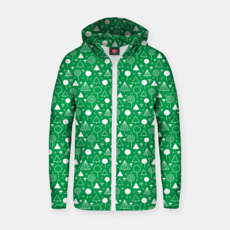 Thumbnail image of Woods Pattern in Green and White Outline  Zip up hoodie, Live Heroes