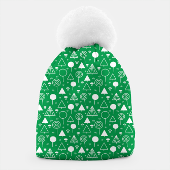 Thumbnail image of Woods Pattern in Green and White Outline  Beanie, Live Heroes
